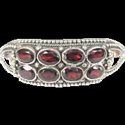Sterling Garnet Bracelet, Vintage Cuff