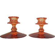 Glass Candlesticks, Vintage Pair