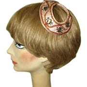 Vintage Beaded Hat, Pink Satin Headband