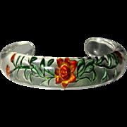 Vintage Lucite Bracelet, Reverse Carved Floral
