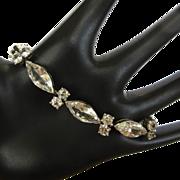 Sterling Crystal Bracelet, Vintage Rhinestone