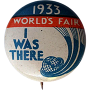 1933 World's Fair Pin Back, Button, Chicago Century of Progress