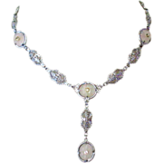 Camphor Glass Necklace, Art Deco Filigree, 4 Panels