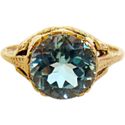 Blue Topaz Ring, 9K Gold Victorian Crown Setting