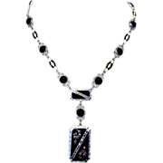 Art Deco Necklace, Enamel, Marcasite, Glass, Filigree