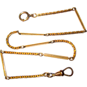 Antique Watch Chain, Gold Filled Bigney