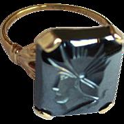 Intaglio Hematite Ring, 10K Gold, Roman Soldier