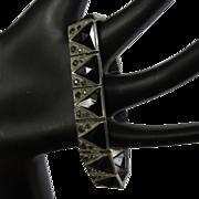 Art Deco Bracelet, Art Glass & Rhinestones