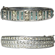 Deco Rhinestone Bracelet, Hinged Bangle, 1920's