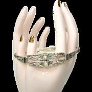 Deco Sterling  Bracelet, Rhinestone Filigree Link