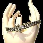 Deco Buckle Bracelet, Sterling, Rhinestones