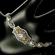 Gold Filigree Bracelet, Art Nouveau, 10K, Diamond