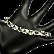 Crystal Link bracelet, Art Deco 1920's Sterling