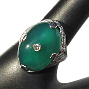 Sterling Chrysoprase Ring, Filigree Art Nouveau Vintage