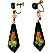 Celluloid Earrings, Floral Drop, 1920's