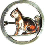 Sterling Cat Pin, Enamel Brooch, Vintage Germany