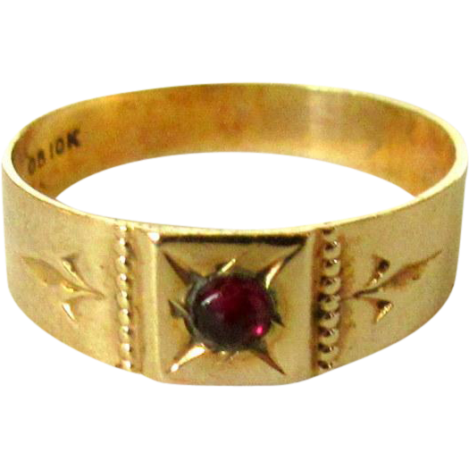 Garnet Gold Ring 10K Ostby Barton Baby Band from