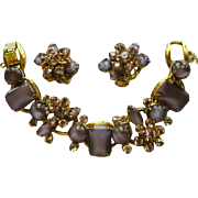 Juliana Rhinestone Bracelet & Earrings, Purple, Over the Top