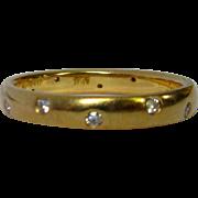 Jabel Diamond Ring, Vintage Wedding Band, 18K