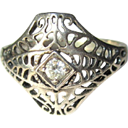 Sterling Filigree Ring, Rhinestone, Art Nouveau Revival