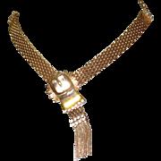 Victorian Revival Buckle Necklace, Rhinestones & Mesh, 1940's