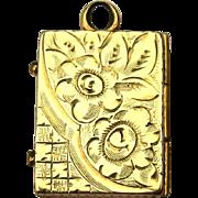 Vintage Locket, Gold Filled Book, Floral Etched