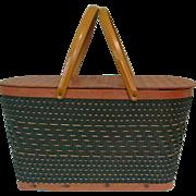 Vintage Picnic Basket, Green Redmon Woven Hamper - Red Tag Sale Item