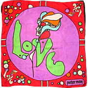 Peter Max Love Scarf, Vintage '60's Silk