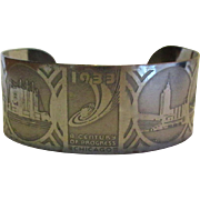 Chicago Worlds Fair Bracelet, 1933 Vintage Cuff