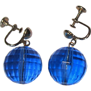 Vintage Ball Earrings, Clear Blue Faceted, 1960's