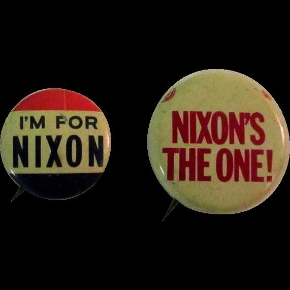 Rare Nixon Pins: Nixon Campaign Buttons, Vintage Pinbacks, Three From