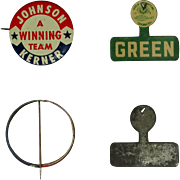 Political Buttons, Johnson, Kerner & Green, Vintage Illinois Pinbacks