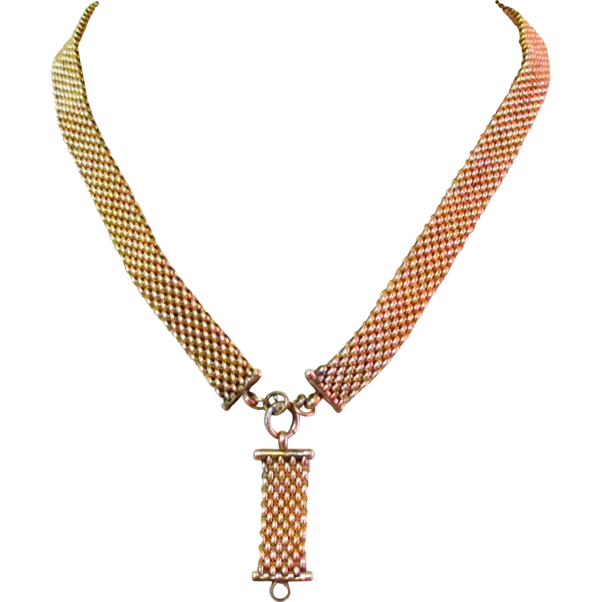 Victorian necklace panther mesh chain sterling gold for Best place to sell gold jewelry in chicago