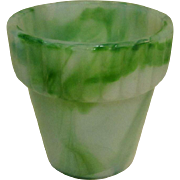 Akro Agate Flower Pot, Jadite Slag Glass, 1940's