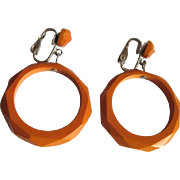 Faceted Bakelite Hoop Earrings, Vintage Deco Butterscotch