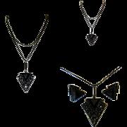 Art Deco Rhinestone Necklace & Earrings, 1940's