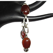Art Deco Cherry Amber Bracelet, Sterling Silver