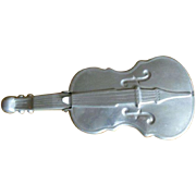 Violin Dish, Vintage Aluminum Flip Lid, Fiddle Collectible