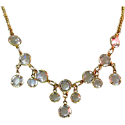Crystal Festoon Necklace, Bezel Set, Vintage