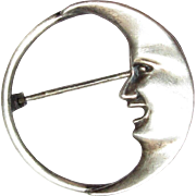 Sterling Pin, Man in the Moon Crescent