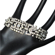 KTF Rhinestone Bracelet, 30's Deco Trifari, Wide