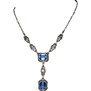 Art Deco Pendant Necklace, Chromium Filigree & Blue Glass