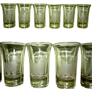 Art Deco Shot Glass Set, 6 Etched Scottie Dogs