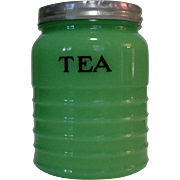 Jeannette Jadite Tea Canister, Dark Glass