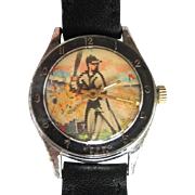 Vintage Baseball Watch, Flicker Dial, Swiss Character
