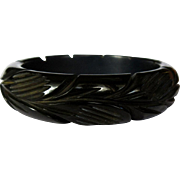 Carved Bakelite Bracelet, Vintage Art Deco Bangle