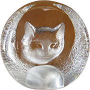 Crystal Cat Paperweight, Mats Jonasson, Sweden - Red Tag Sale Item