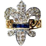 14K Ring, Rose Cut Diamonds, Sapphire Ring