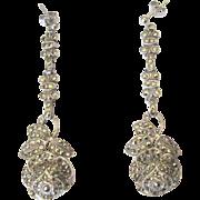 Deco Sterling Earrings, Pave Roses, Fishel Nessler