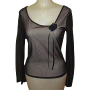 Vintage Black Mesh Blouse, Rose & Leather